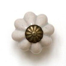 12 Uds 25mm pequeña linterna de calabaza perilla cerámica para gabinete armario tiradores de tocador cocina manijas tiradores cajón y tiradores
