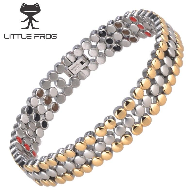 LITTLE FROG Magnetic Health Energy Care Bracelet For Men Power Bangle 316L Stainless Steel Bio Pulseras Hombre Jewelry