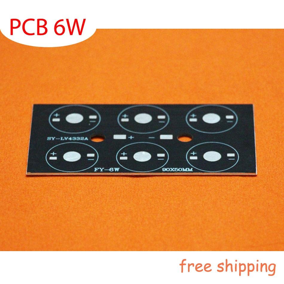 6W LED rektangulær printplade, 90 * 50 * 1,5 mm til 6 stk LEDs, aluminiumplade bundplade, højeffekt ledet 6W DIY PCB, gratis forsendelse