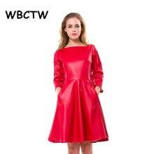 WBCTW vestido de cuero con cuello de cintura alta elegante a-línea de estilo  vestido rojo de verano 2018 primavera PU Skater Min. e0cb55b4e1e5