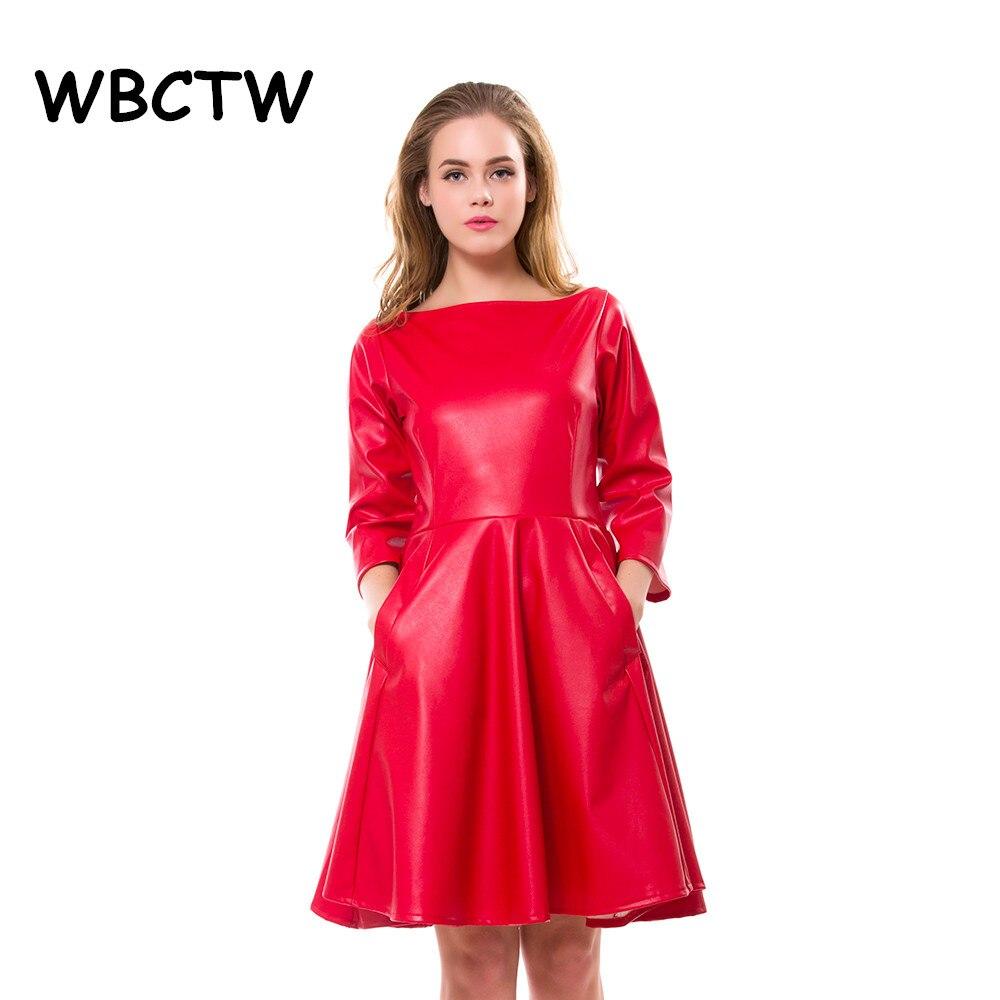 WBCTW Leather Dress Slash Neck High Waist Elegant A Line Style Red Dress 2019 Summer Spring PU Mini Skater Dress Plus Size