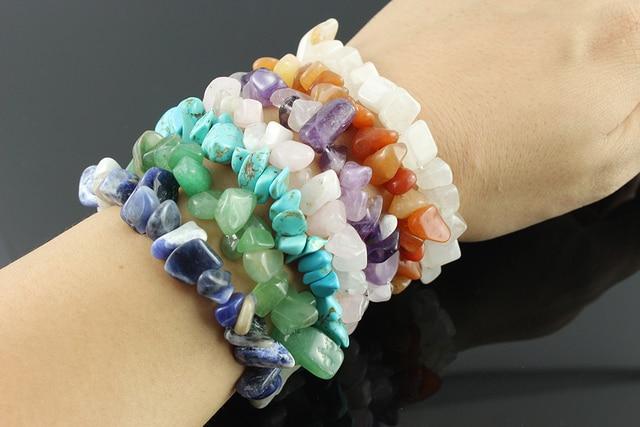 Gravel Natural stone Bracelets 9 color Crystal Bracelet Bangles Chip stone stretch bracelet