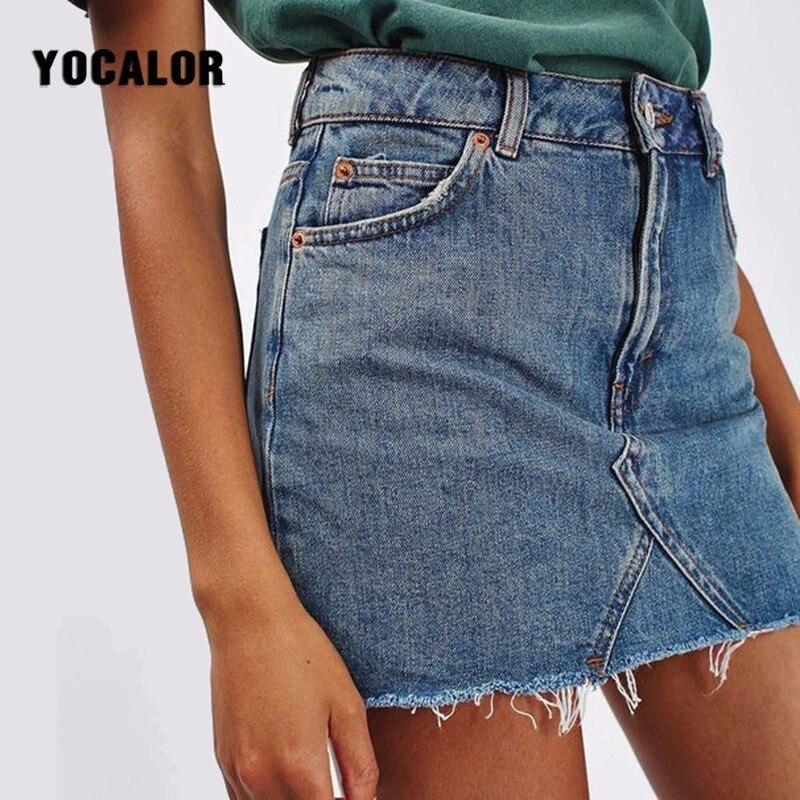 2018 Denim Female Skirts Womens Streetwear Short Jeans High Waist Pencil Vintage Korean Wrap Blue Tight Skirt School Kilt Girl