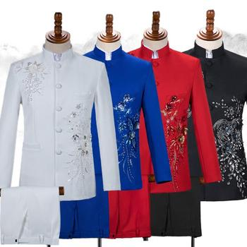 Blazer men Sequin Chinese tunic suit set with pants mens wedding suits singer star style Chorus stage clothing formal dress