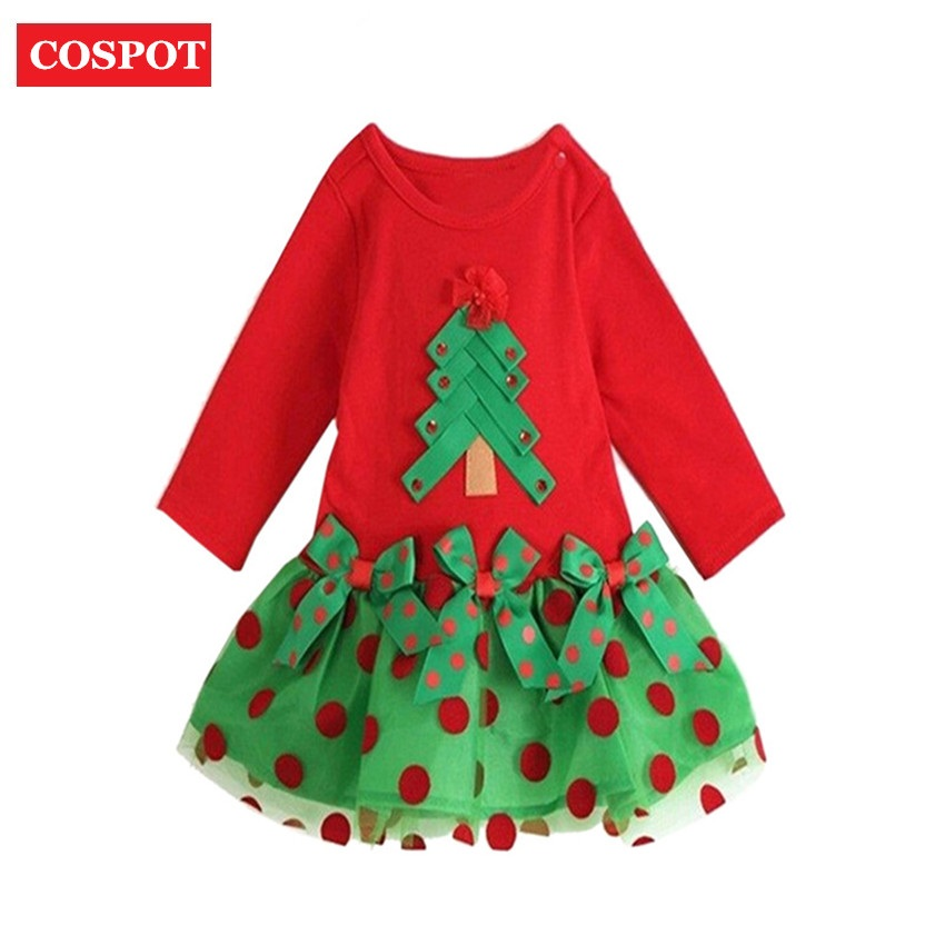 COSPOT Baby Girls Christmas Tutu Dress Girl's Merry Christmas Summer Dress Girls Cotton Dot Casual Dresses 2018 New Arrival D25