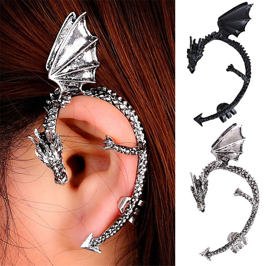 Gussy Life Wholesale Diomedes Free Shipping New Fashion Gothic Style Metal  Dragon Bite Ear Cuff Wrap