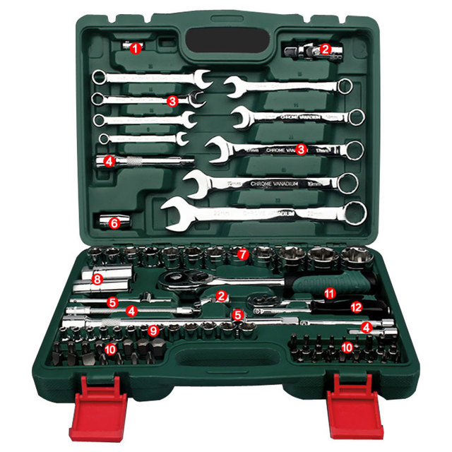 Motor Car Repair Tool Set 82pcs Tool Combination Torque Wrenches Ratchet Socket Spanner Mechanics Tool Kits