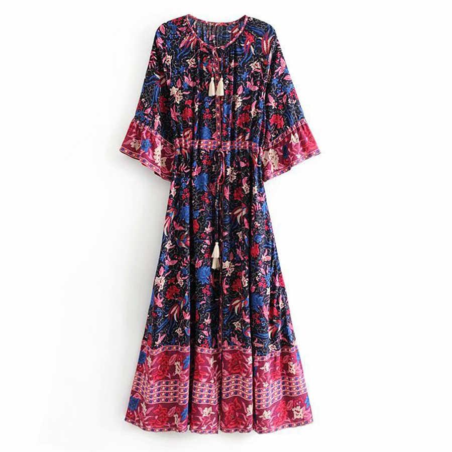 TEELYNN Ilona maxi vrouwen jurken WILIGHT 2019 rayon Phoenix bloemenprint herfst Jurken Trekkoord taille BOHO Jurken vestidos
