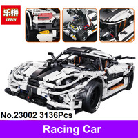 New LEPIN 23002 3136Pcs Technic Series The MOC 4789 Changing Racing Car Set Model Building Blocks