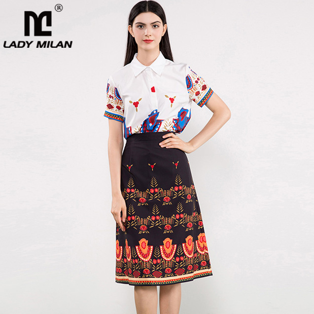 Lady Milan Womens Turn Down Collar Short Sleeves Printed Shirts with Floral Skirts High Street Fashion Twinsets Two Piece Dress