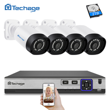 Techage H.265 4CH POE NVR комплект 4MP CCTV Системы открытый IP66 4MP IP Камера P2P Onvif видеонаблюдения Системы комплект