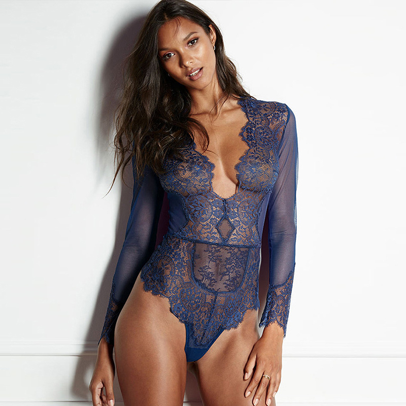 Sheer mesh long sleeve bodysuit women sexy deep v neck sexy romper jumpsuits plus size body feminino lace bodysuit wkl014
