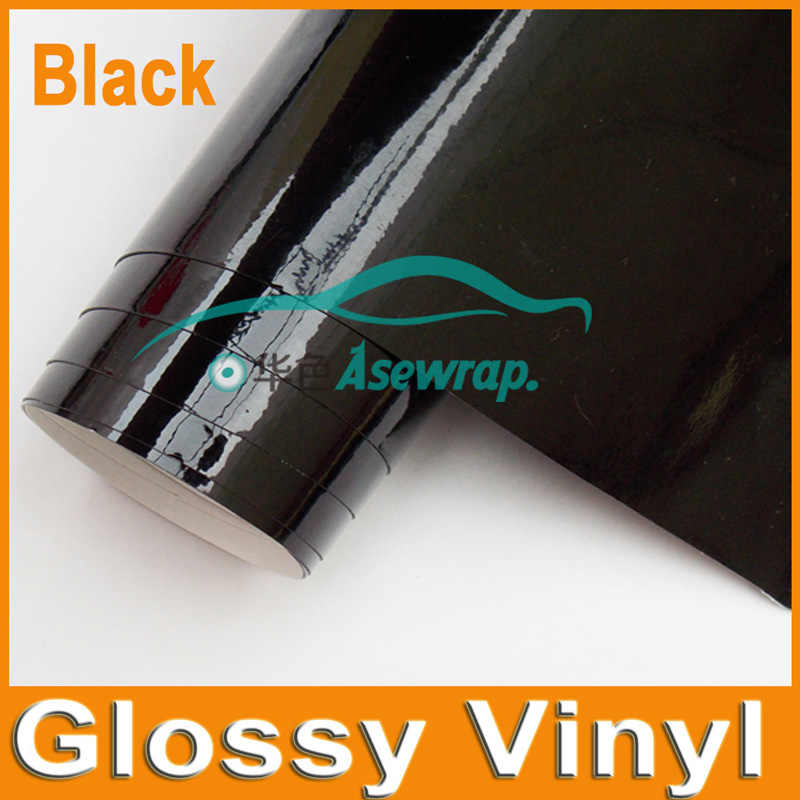 Heldere Glossy Vinyl 5 m/roll Glossy car wrap Vinyl Film Gloss Black Wrap Bubble Gratis auto sticker auto decoratie film