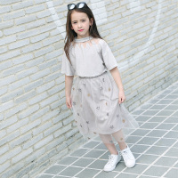Teenager Girls' Clothing Set Short Sleeve T Shirt+Net Yarn Star Dress Big Girl Two Piece Set Star Pattern Skirt Summer Clothes