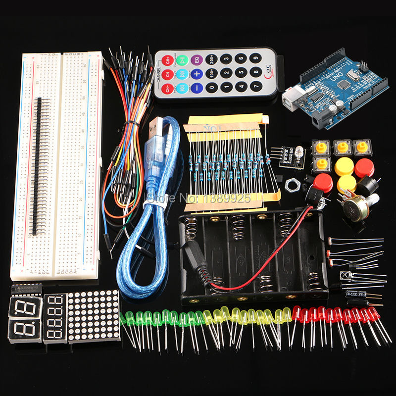 Free shipping starter kit with UNO R3 MEGA328P+830 holes Breadboard for arduino