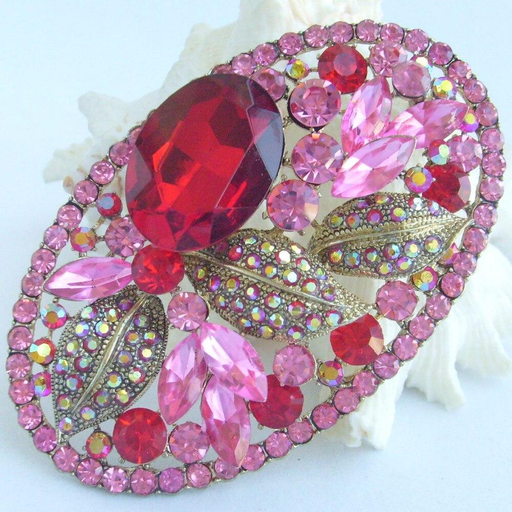Бижутерия для костюма красный розовый кристалл горного хрусталя каплевидный цветок брошь булавка EE04908C8