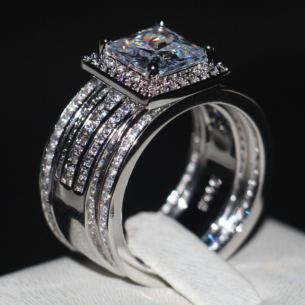 Luxury Men Women Fashion Ring Princess Cut 3ct Aaaaa Zircon Cz 925 Sterling Silver Engagement Wedding Band Set In Rings From Jewelry