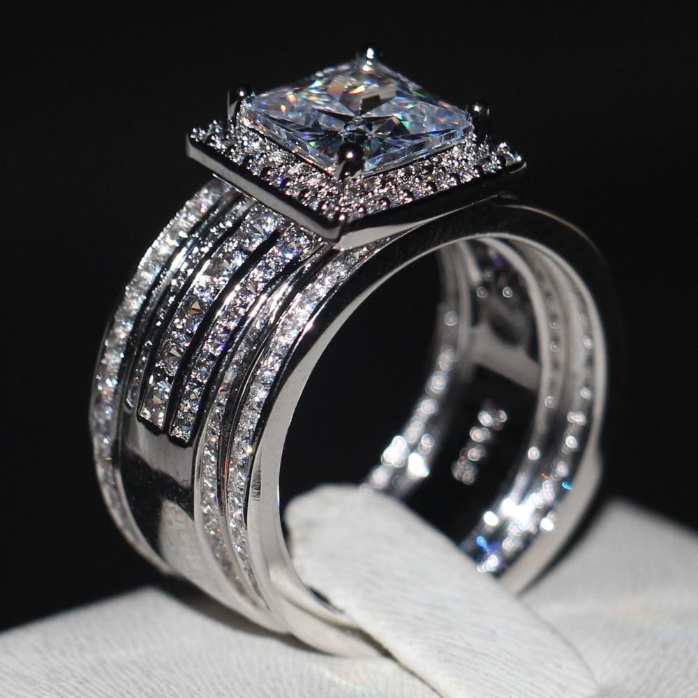 Luxury Men women Fashion ring Princess cut 3ct AAAAA zircon cz 925 Sterling silver Couple