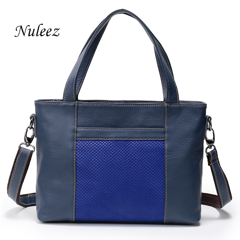 Nuleez Women Handle Bag Real Leather Blue Red Black Shoulder Handbags For Ladies Briefcase Business Bag China Handbag 1210 dark blue zippered faux leather handle conference file contract bag container