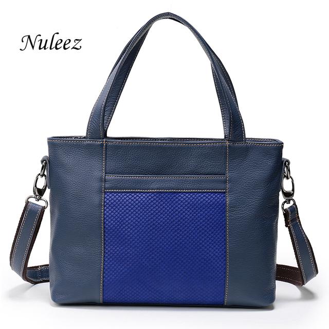 Nuleez Women Handle Bag Real Leather Blue Red Black Shoulder Handbags For Ladies Briefcase Business Bag China Handbag 1210