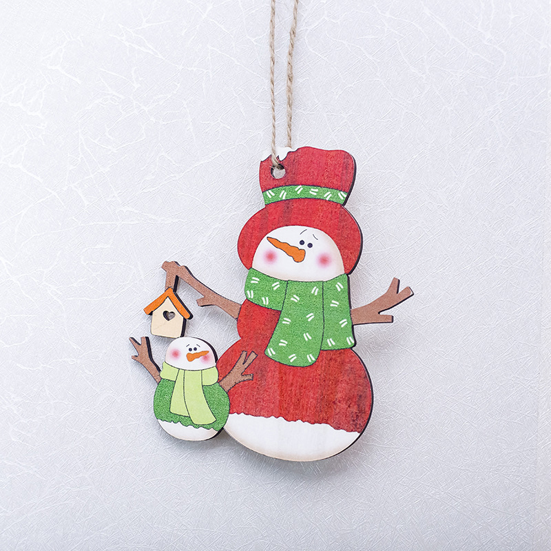 1 Pc Christmas Wooden Pendant Painted Elk Snowman Santa Claus Xmas Tree Drop Ornaments Party Hanging Decor