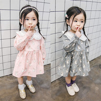 Spring New Girl S Long Sleeved Dress Cotton Small Rabbit Pattern Doll Dress Baby Girl Clothes