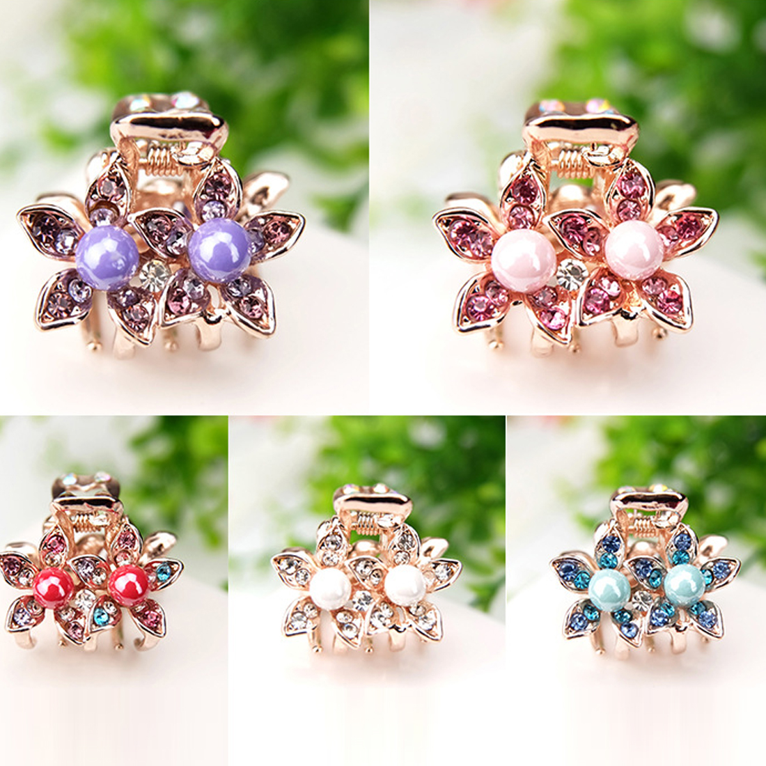 2017 Charming Flowers Crystal Rhinestone Alloy Crab Pearl Hairpin Claw Clip Bridal Jewelry Headwear Accessories