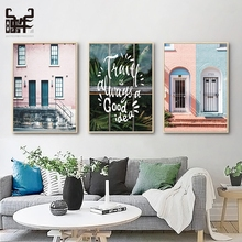 Pink House Canvas Painting Nordic Poster Building Picture Posters Living Room Wall Art Pictures Prints Leaf Home Decor Unframed