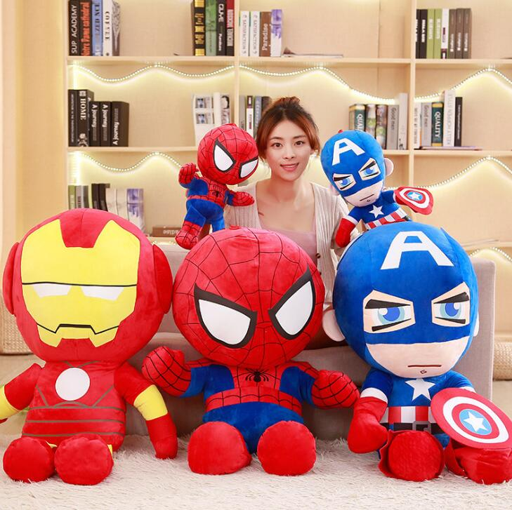 1pc 25cm Soft Stuffed Super Hero Captain America Iron Man Spiderman Plush Toys The Avengers Movie Dolls For Kids Birthday Gift