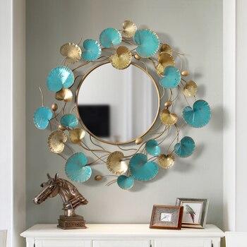 Grand miroir Mural en métal floral artisanal