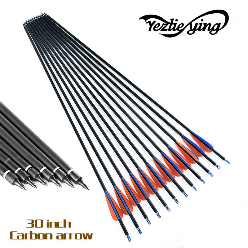 12pcs New Spine 400 Carbon Arrow With Replaceable Arrowhead 30′ Length Archery for Compound/Recurve Bow blue /orange Feathers