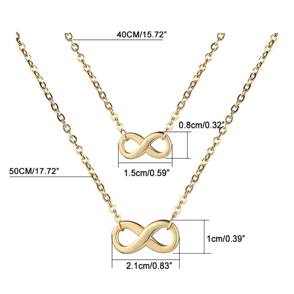 Acier inoxydable lettre infinie 8 coeur croix triangle barre ronde pendentif collier clavicule chaînes collier pour les femmes meilleur cadeau