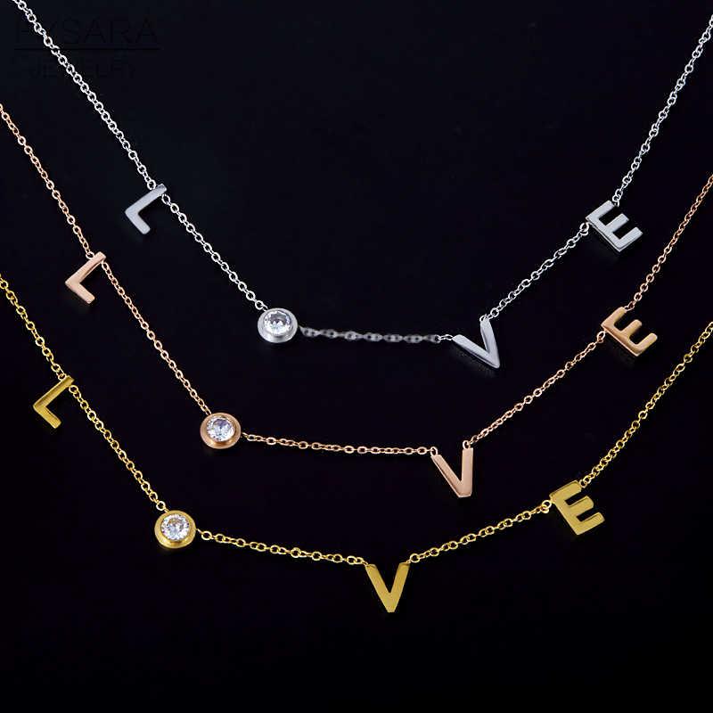 FYSARA สแตนเลสรอบคริสตัลจี้สร้อยคอคู่โรแมนติก Luxury LOVE สร้อยคอ Choker เครื่องประดับ