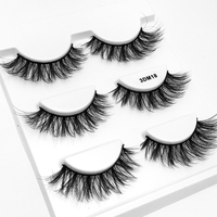 3 pairs Professional Makeup 3D False Eyelashes Messy Cross Thick Natural Fake Eye Lashes Tips Bigeye Long False Eye Lashes False Eyelashes