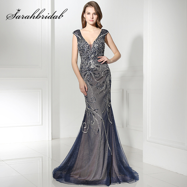 Gorgeous Navy Blue Long Mermaid Celebrity Dresses With