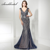 Gorgeous Navy Blue Long Mermaid Celebrity Dresses With Luxury Pearls Crystal V Neck Formal Evening Party
