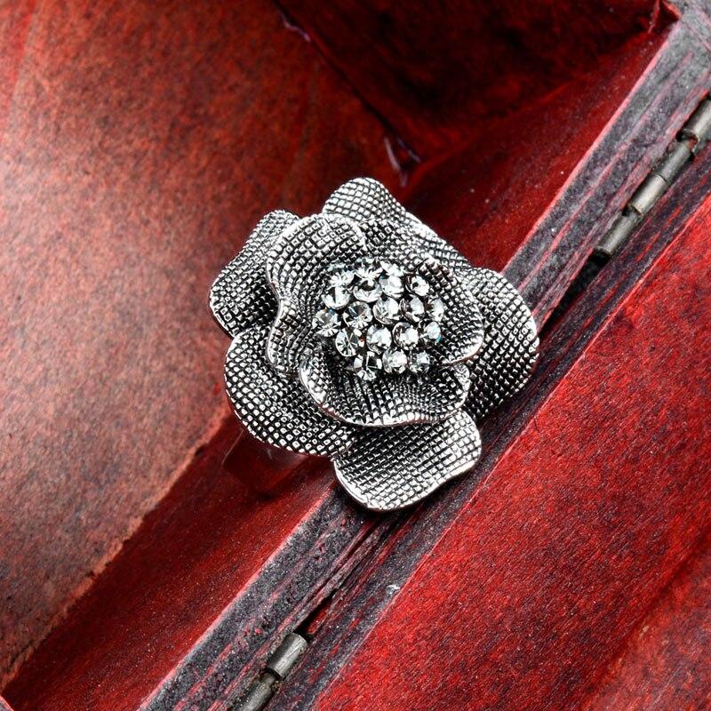 SINLEERY Vintage Big Black Ekte Cubic Zircon Flower Finger Rings - Mote smykker - Bilde 3