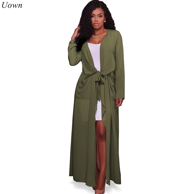 Doyerl Chiffon Blouse Lang shirt 2017 Vrouwen V-hals Lange mouw Casual Elegant Zakken Kimono Vest Losse Vrouwelijke Tops Chemise