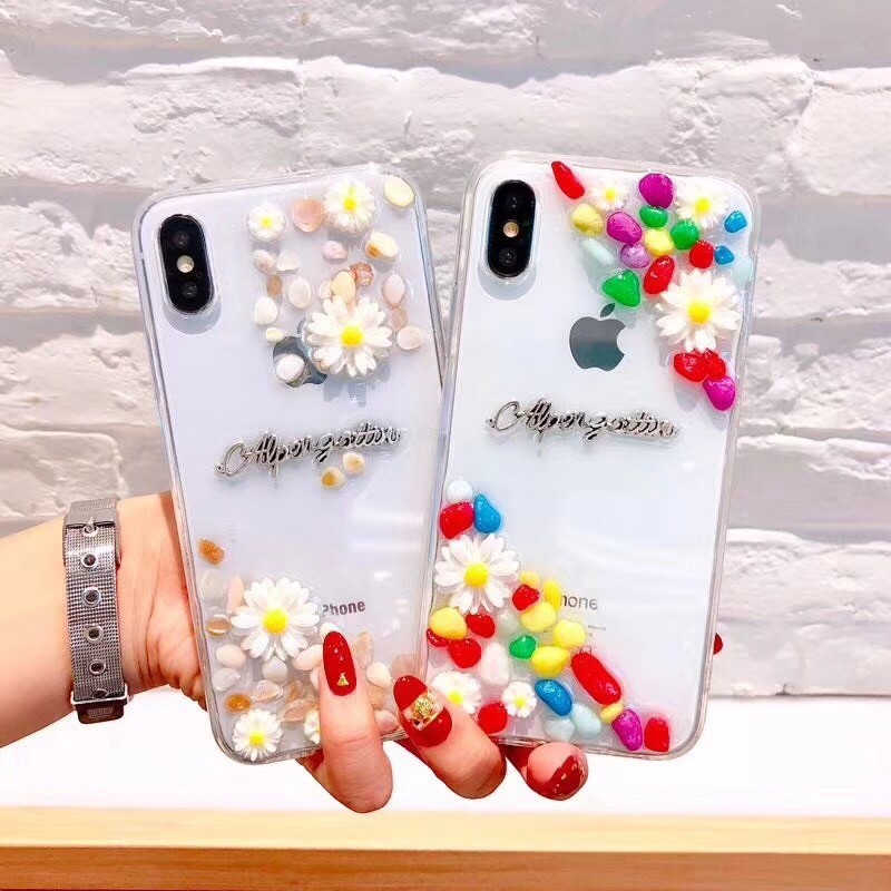 Cute 3D Floral Phone Case For iPhone 8 7 X 6 6S Plus 7Plus Transparent Colours Stone Cases Daisy Flower Soft Back Cover Coque