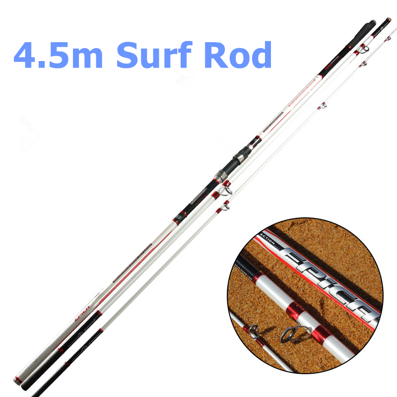 Free Shipping 4.5m 3 Section Surf Casting Fishing Rod High Carbon Light Weight Casting Rod