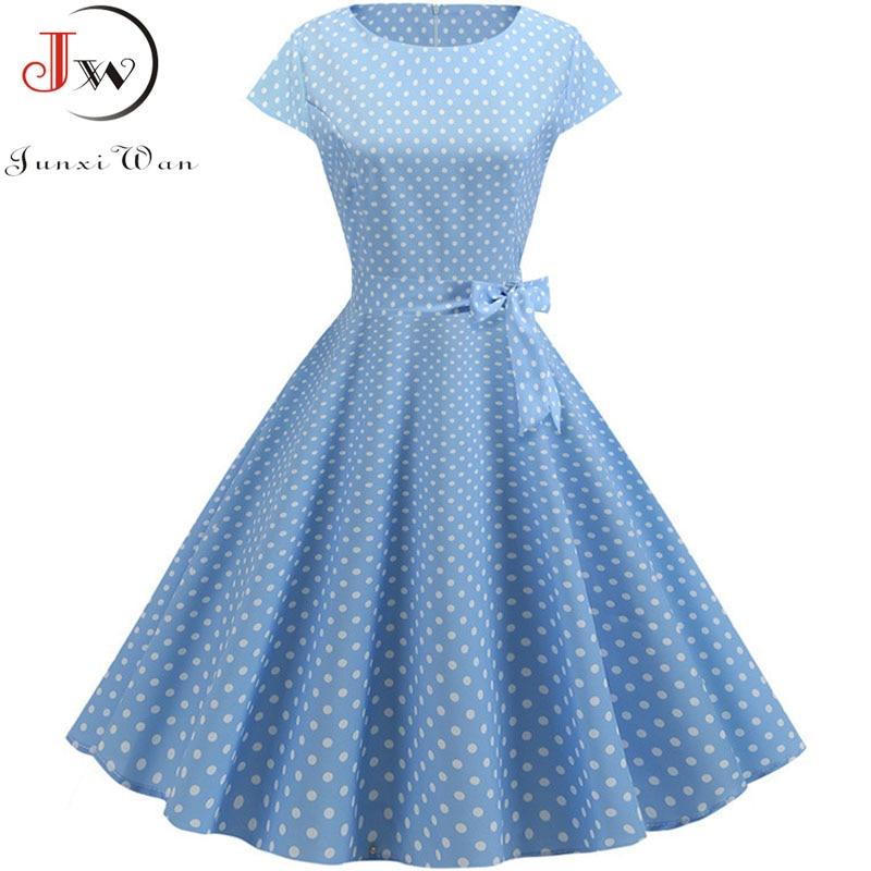 Women Summer Dresses 2019 Robe Vintage 1950s 60s Pin Up Big Swing Party Work Wear Rockabilly Dress White Polka Dot Vestidos