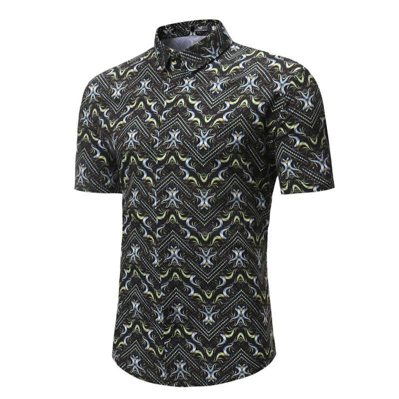 Рубашка с цветочным принтом для мужчин, новинка 2018 года, Гавайские пляжные рубашки, летние мужские рубашки с коротким рукавом, полосатые рубашки с цветочным принтом, Chemise Homme