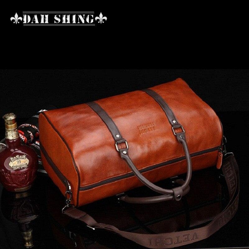 1b81a023d Moda colores sólidos gran capacidad 100% cuero genuino equipaje bolsa de  lona de viaje bolsas 45*26 cm