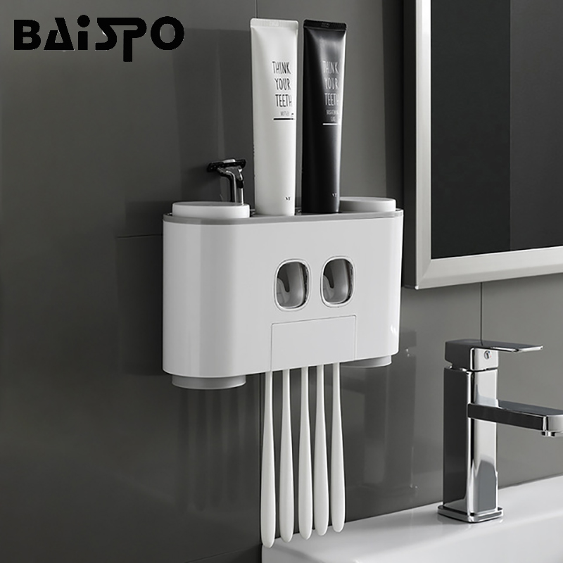 BAISPO Bathroom Automatic Toothpaste Dispenser Toothpaste Squeezer Wall Paste Mounted Toothbrush Holder Bathroom Accessories Set