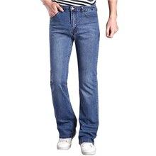 2017 Mens Flared Jeans Boot Cut Leg Flared Wlastic Slim Fit Mid Waist Male Designer Classic Denim Jeans Pants Bell Bottom Jeans