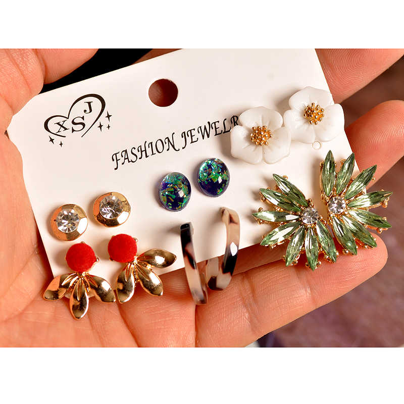 Trendy fashion women jewelry wholesale girl birthday party gorgeous stud mix style 6 pairs /set beautiful earrings free shipping