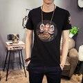 2017 Verano Corea Moda Slim Fit Camiseta de Los Hombres Tee Shirt Homme parche Diseño Hombre de Las Camisetas de Manga Corta Del O-cuello Ocasional 5XL-M Caliente