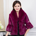 2017 new winter fox fur collar natural rabbit fur coat outerwear women short sleeve skin leather fur jacket female fur clothes