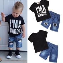 Baby Boy Summer Children EU USA Fashion Letter Print Tshirt Denim Short Pants 2pcs/Set Clothes