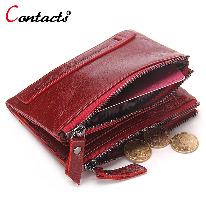 CONTACT'S Men Wallet Women Purses Genuine Leather Wallets Women Small Clutches Card Holder Female Money Bag Men Wallet Women Red